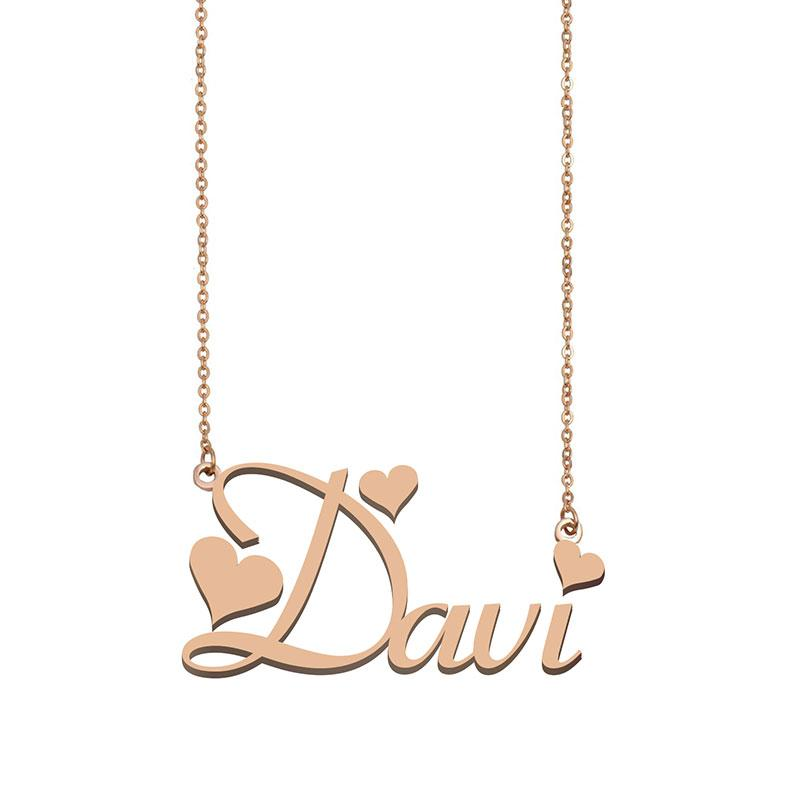 Davi Name Necklace Pendant for Women Girls Birthday Gift Custom Nameplate Kids Best Friends Jewelry 18k Gold Plated Stainless Steel