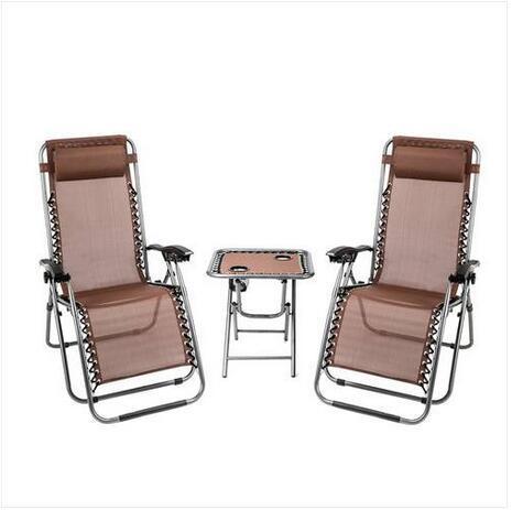 Mode Free shipping Zero Gravity Wholesales 2PCS Lounge Chair Brown avec table Porte-gobelet Portable