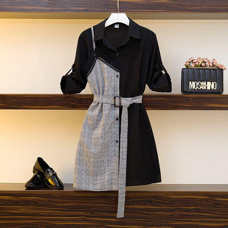 L-4XL camicia elegante abito più le donne del merletto di estate plaid della rappezzatura Vestitino britannico Vintage casuale con la cinghia A344