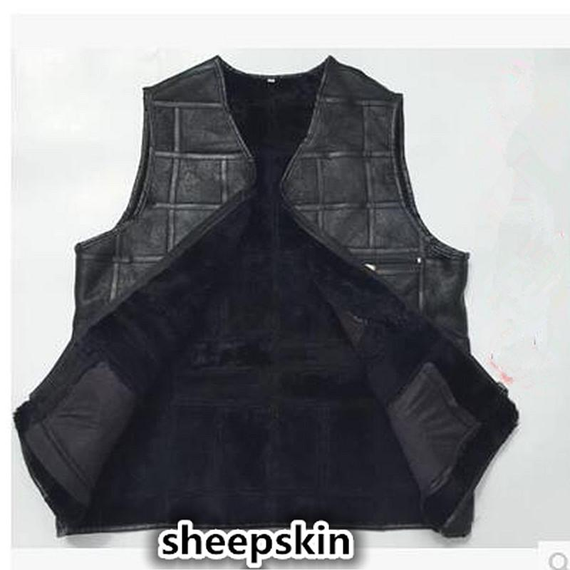 2017 High-end Brand men's leather waistcoats Large size real Shearling vest soft black men's motorcycle jacket Free shipping