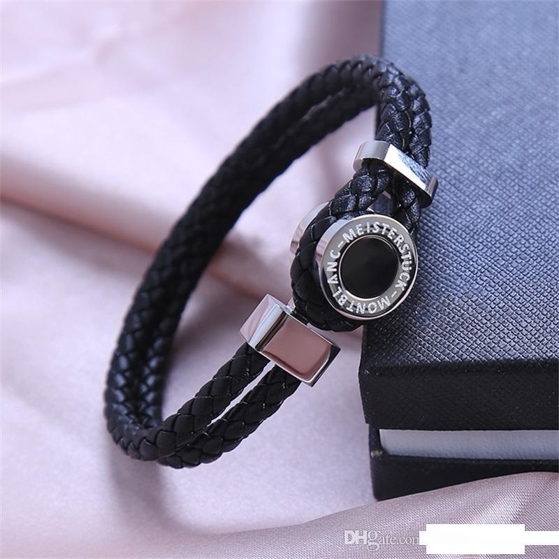 design clássico preto tecido de couro pulseiras de luxo MB Marca Man francesa charme jóias pulseiras homens usam Pulseira presente de aniversário Como