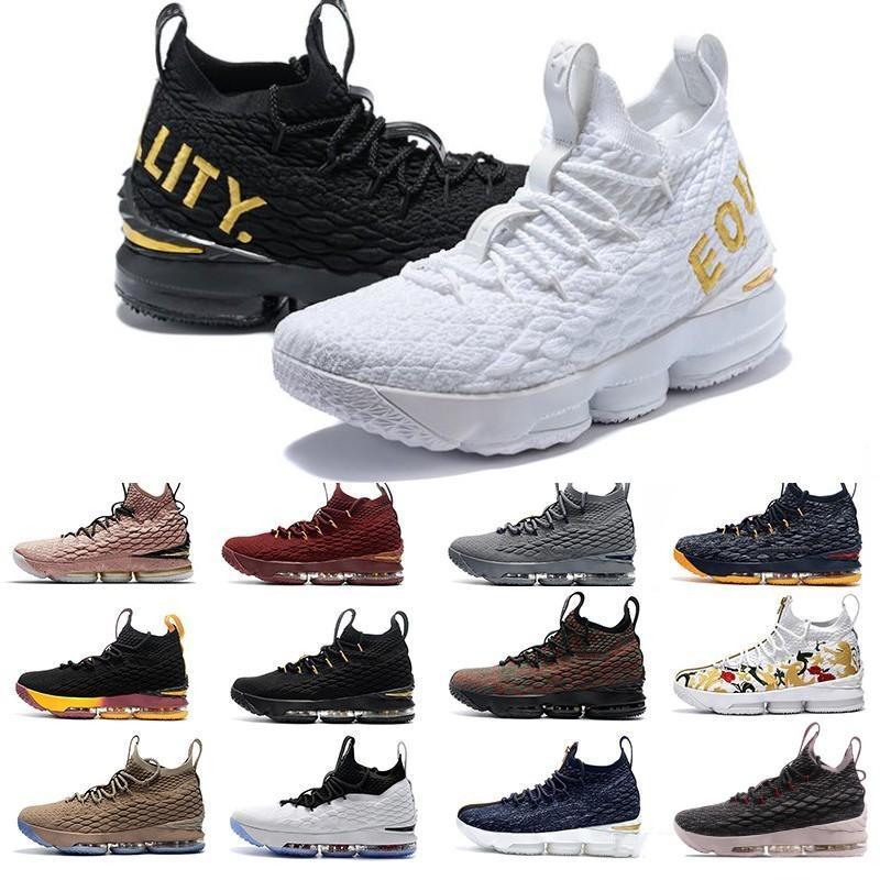 Yeni 15 15s külleri Hayalet Çiçek Erkek Basketbol Ayakkabı Siyah Beyaz Sarı moda nefes EP Spor Eğitimi Sneakers Boyut 40-46