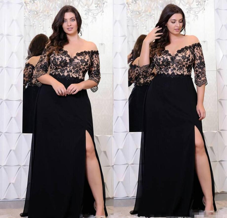 Black Lace Chiffon Plus Size Mother of the Bride Dress Half Sleeves High side Slit Women Formal Evening Wedding Guest Party Gowns