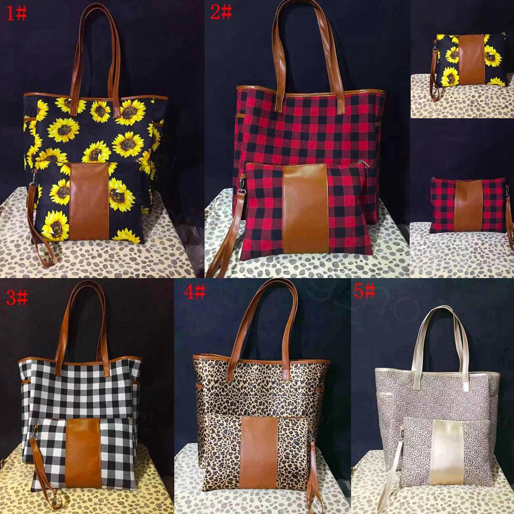 5styles Imprimer sac à main léopard patchwork avec fermeture éclair bourse tournesol carreaux bracelet buffle fourre-tout poignée en cuir shouler sac 17inch FFA3315