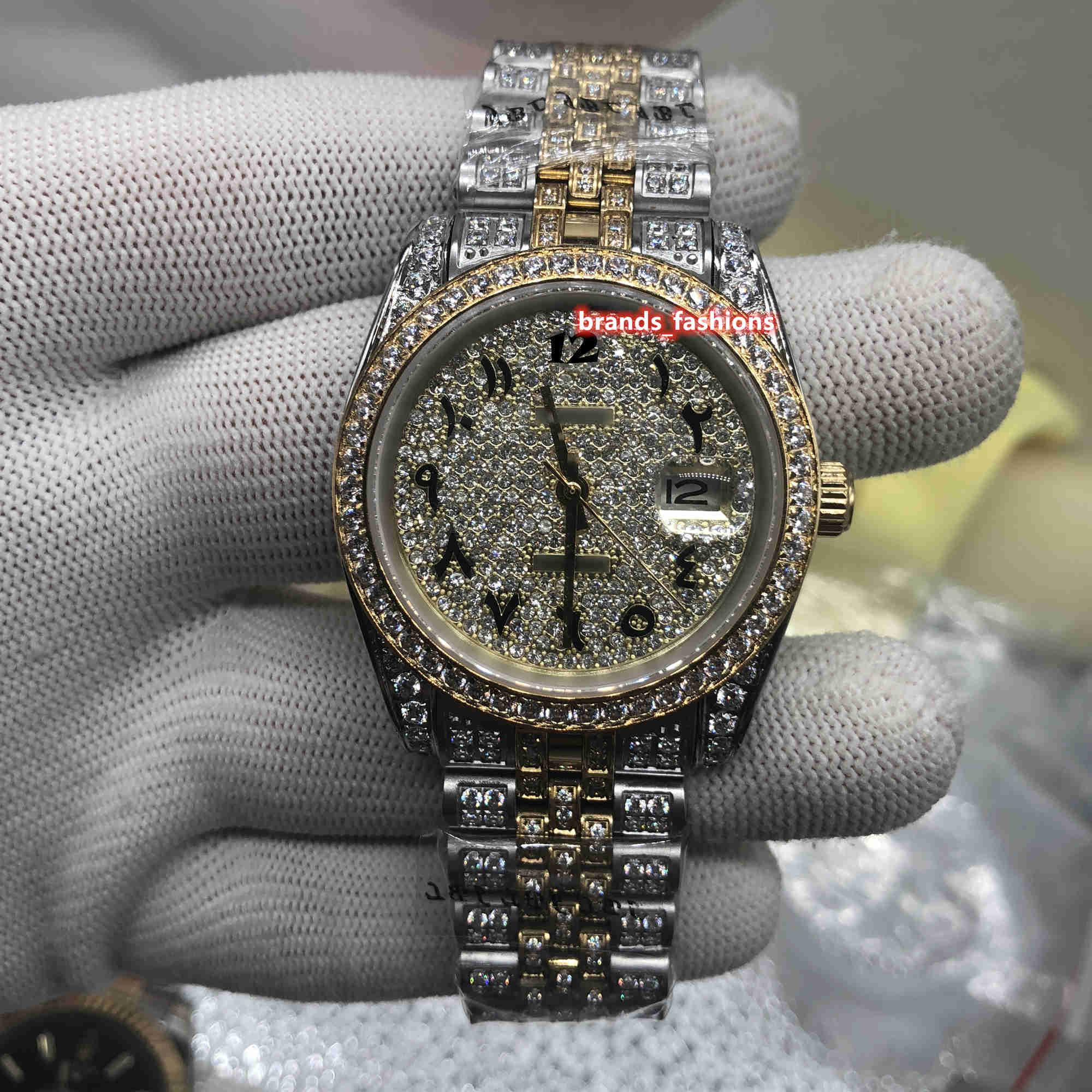 새로운 남성 패션 시계 아랍어 디지털 스케일 시계 골드 다이아몬드 얼굴 시계 전체 다이아몬드 스트랩 시계 자동 기계 시계