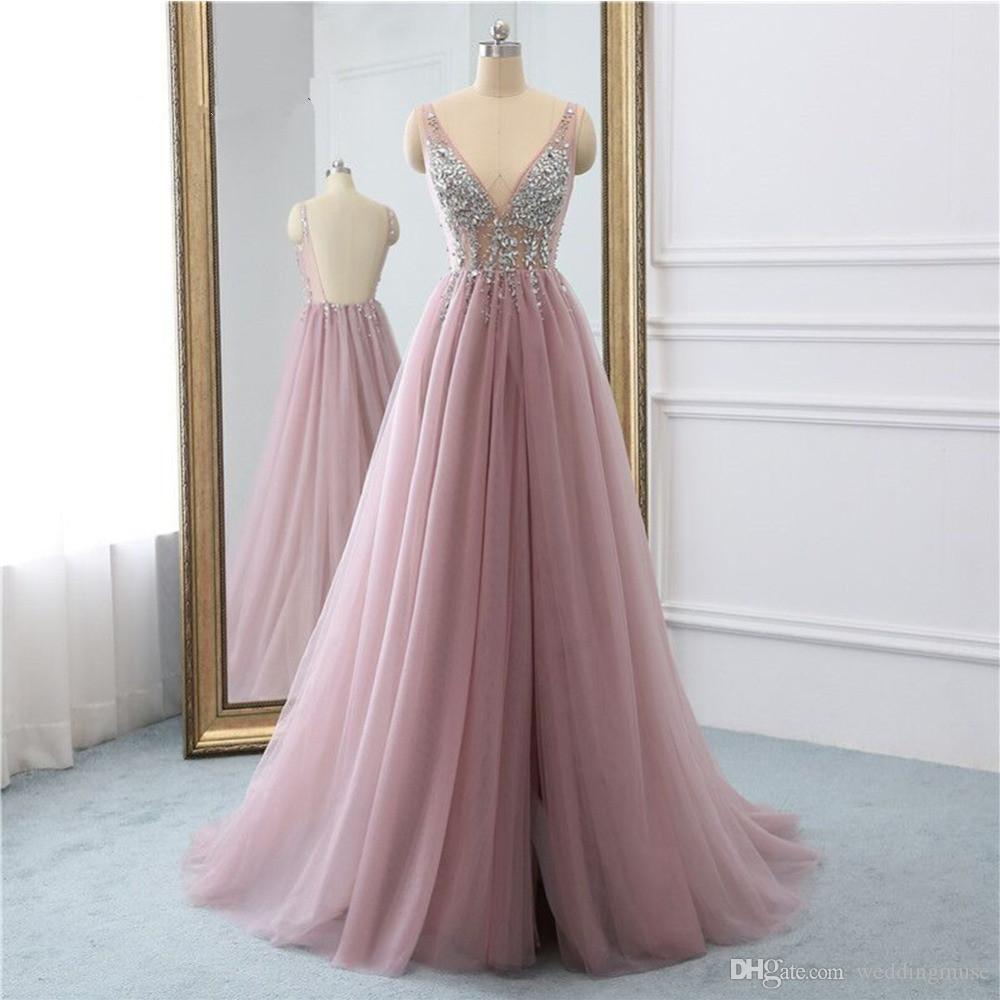 großhandel sexy split prom kleider 2021 perlen ven nein langen abendkleider  blush rosa frauen pageant kleid formale parteikleid vestido de festa von