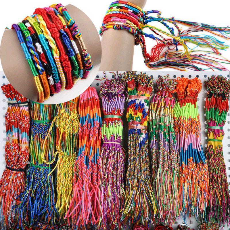 50шт Популярные ювелирные изделия Лот Braid Пряди Friendship Шнуры Handmade браслеты Плетеные ручной Rope #M