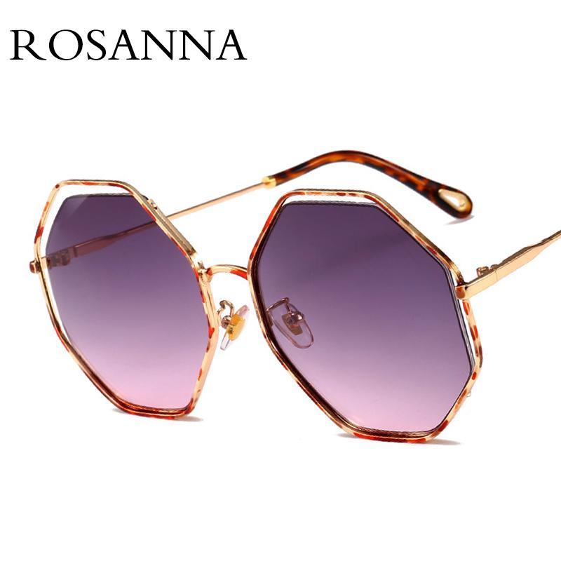 vente en gros surdimensionné lunettes de soleil rondes marque designer creux cadre polygone lunettes de soleil femme 2018 noir unisexe Oculos UV400