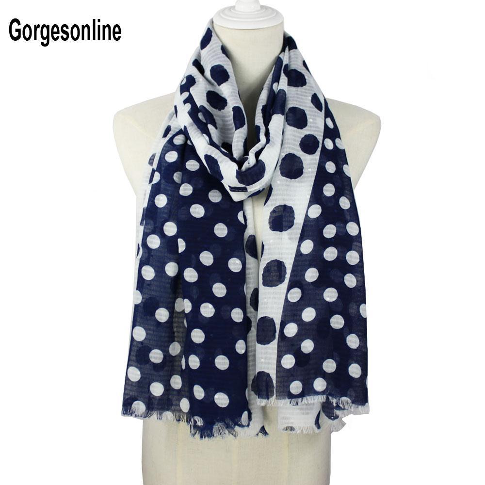 Women ladies Fashion Stylish Black polka dot Shawl viscose scarf Summer Scarf
