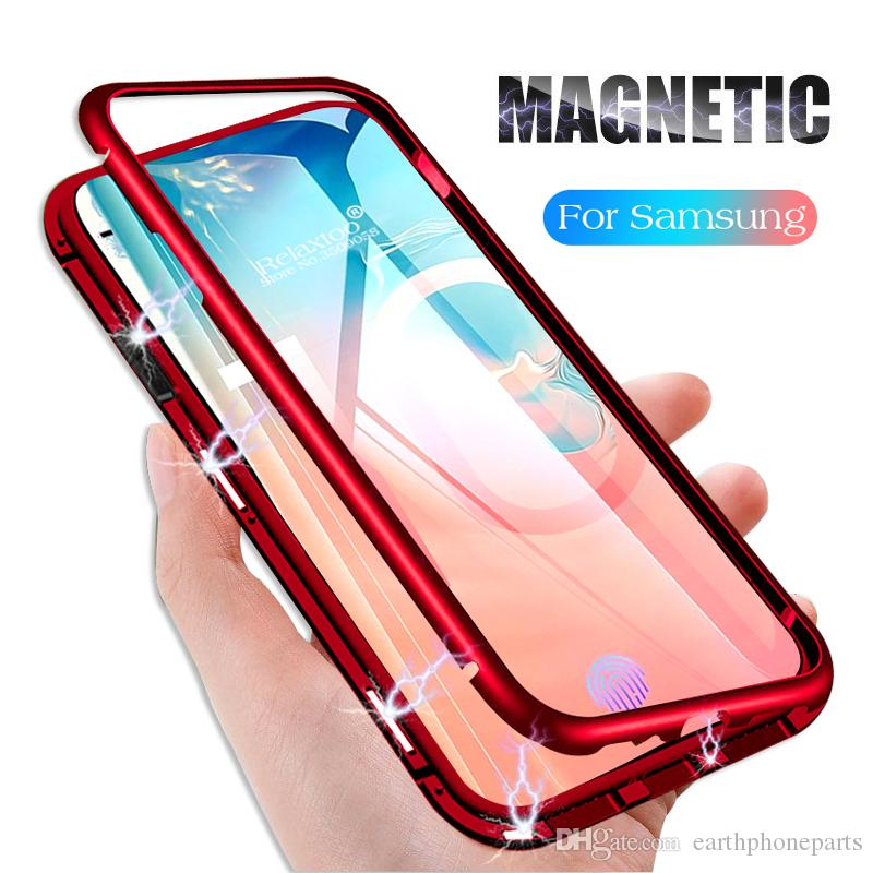 Luxury Adsorption Magnet Flip Case for Samsung Galaxy S10 Plus S10E S9 A50 M20 Case Magnetic Metal Bumper + Clear Back Tempered Glass Cover