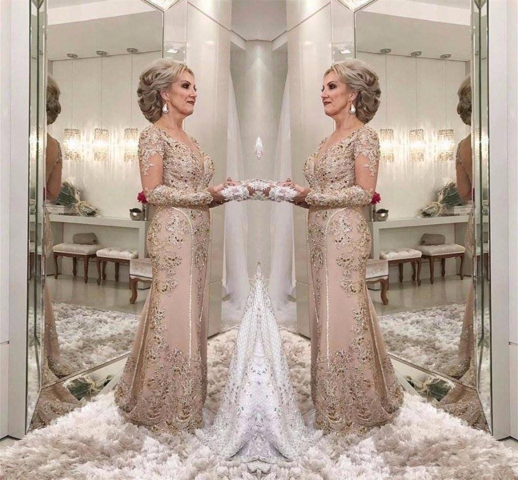 Mère de la mariée Robes 2021 une ligne Sheer Manches longues Formelle Finmove Mariage Soirée Partie de mariage Robe Plus Taille Custom Custom