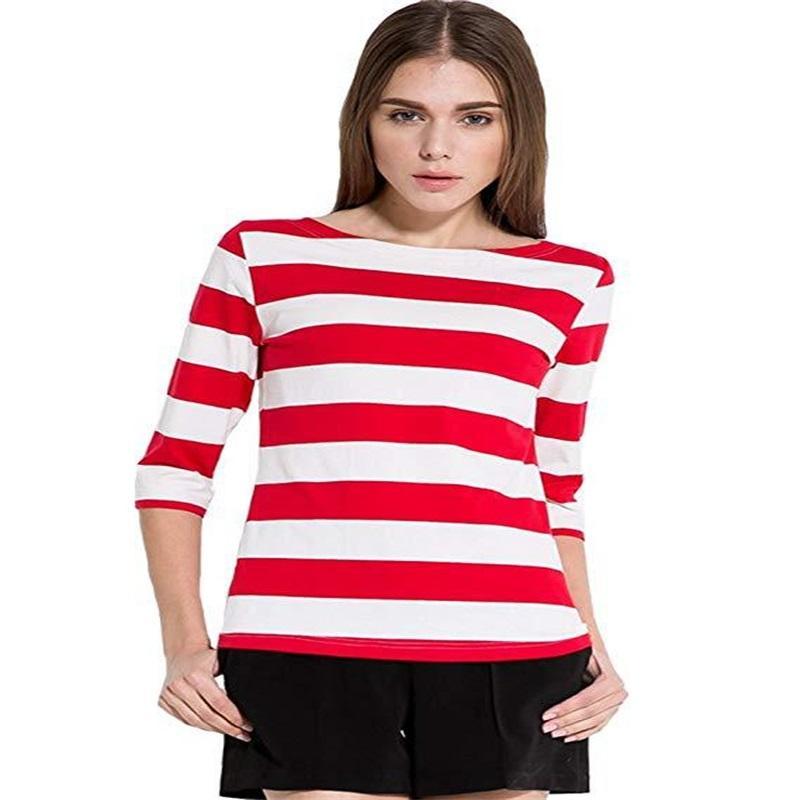 Kadın Şerit Kısa Kollu Yuvarlak Boyun T Gömlek Beş Nokta Kollu Ceket Moda Eğlence Siyah Kırmızı Çabuk Kuruyan 19xy C1