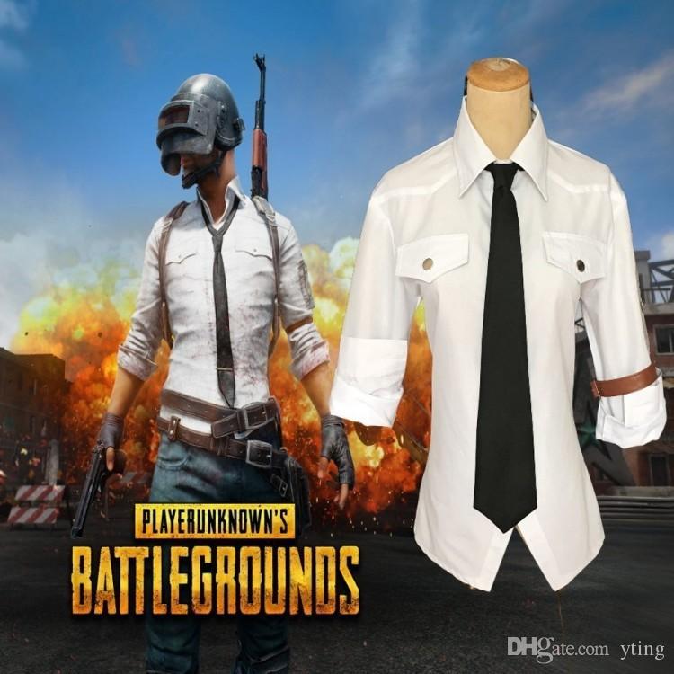 Camisa branca dos homens jogo cosplay comer frango conjunto completo de traje cosplay dos homens de frete grátis