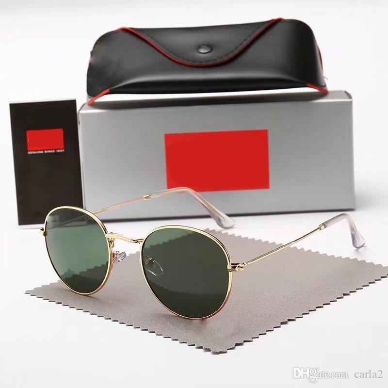 Новые старинные солнцезащитные очки Мужчины Женщины Марка металл золото круглый солнцезащитные очки группы BAIN зеркало Гафас-де-соль линзы 3447 с чехлами