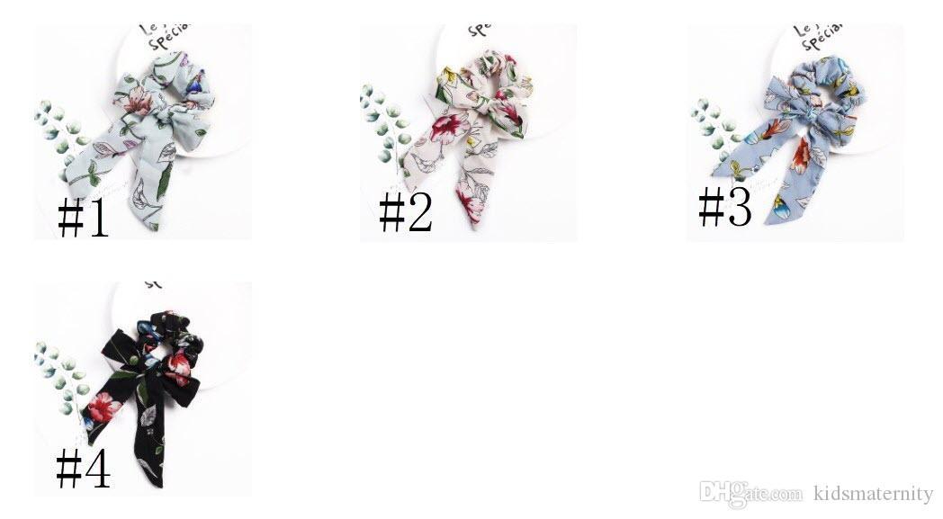 Helisopus Haarbänder Chiffon-Bogen Lange Haare Haargummis Damenmode Vintage Floral Bedruckte Seil Frauen Zubehör Lange Große Bogen Sommer