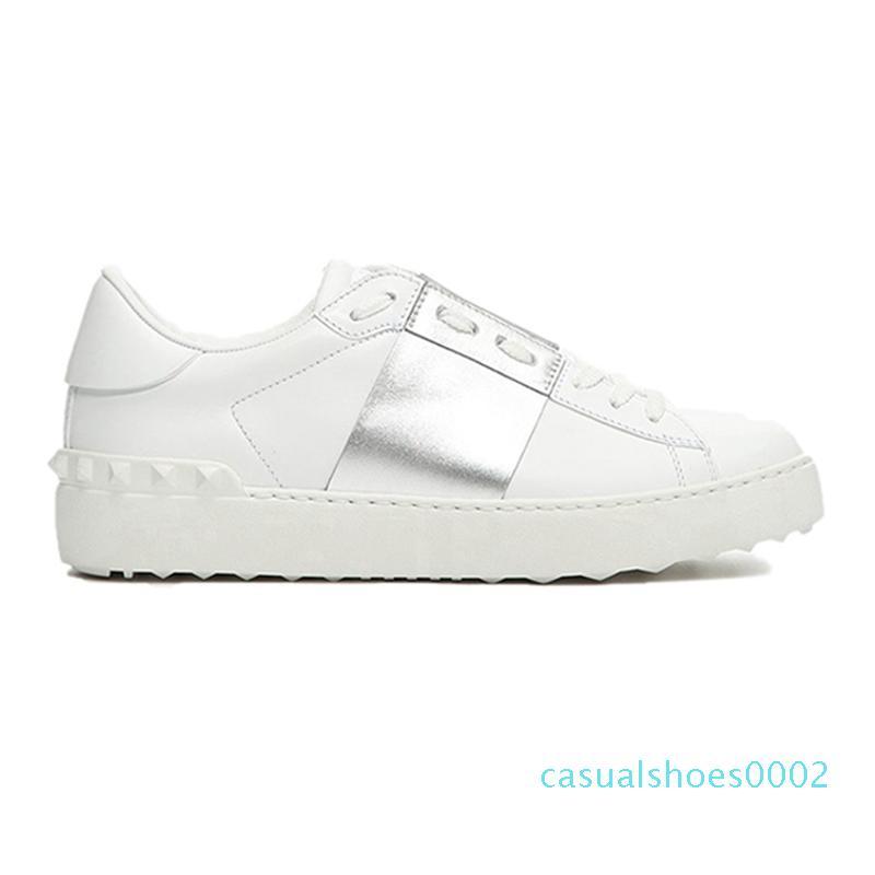 النساء الرجال المسامير شقق الراحة أحذية عارضة النسيج والجلود المرقعة عصري أحذية فاخر مصمم رصع التزلج تنس أحذية رياضية C02