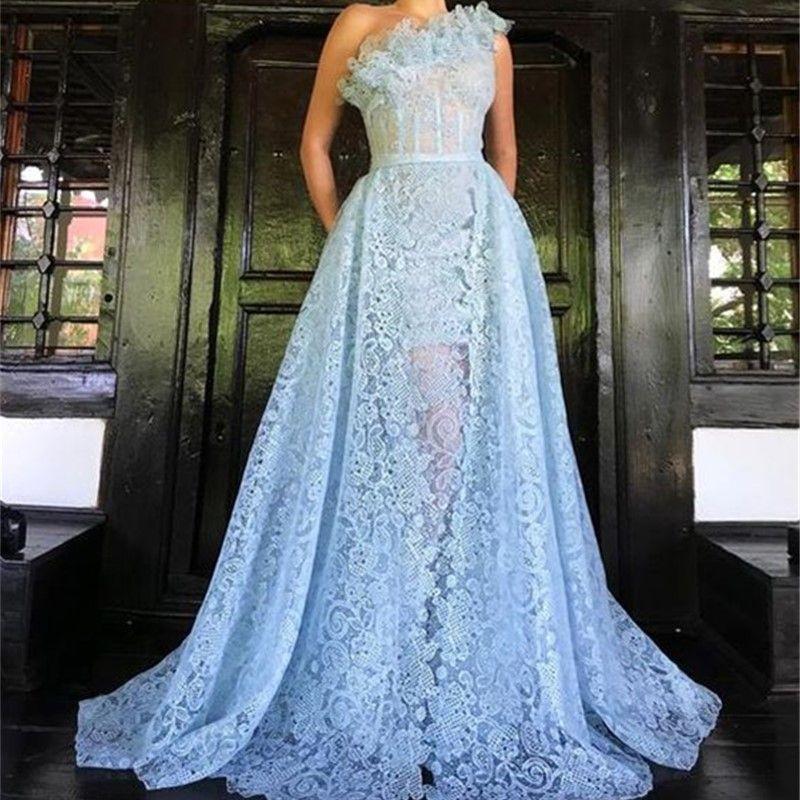 Sexy Sky Blue A Line Lace Abendkleid 2020 ärmellose Abendgarderobe formelle Anlässe One Shoulder Gowns