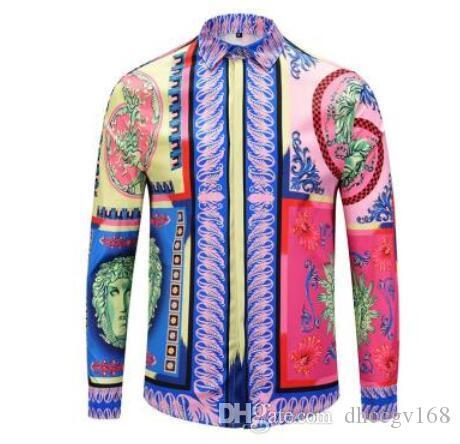 Roupa 3D5185 Femininos Outono Nova Primavera Casual Shirt Print Botão Moda manga comprida 3D Negócios Mens social camiseta Asiático Tamanho M-2XL Homens