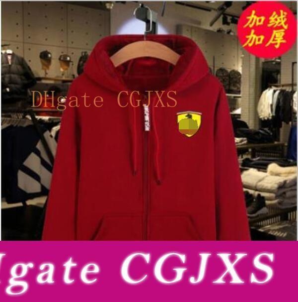 F1 Ferrari Racing Sweater Men S Plus Velvet Sweater Hooded Trendy Men S Long Sleeve Hooded Casual Jacket
