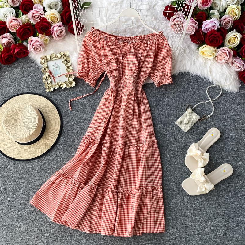 2020 New Summer Vintage Slash Neck Off Shoulder Puff Sleeve Dress Plaid A-line Short High Waist Medium Dress