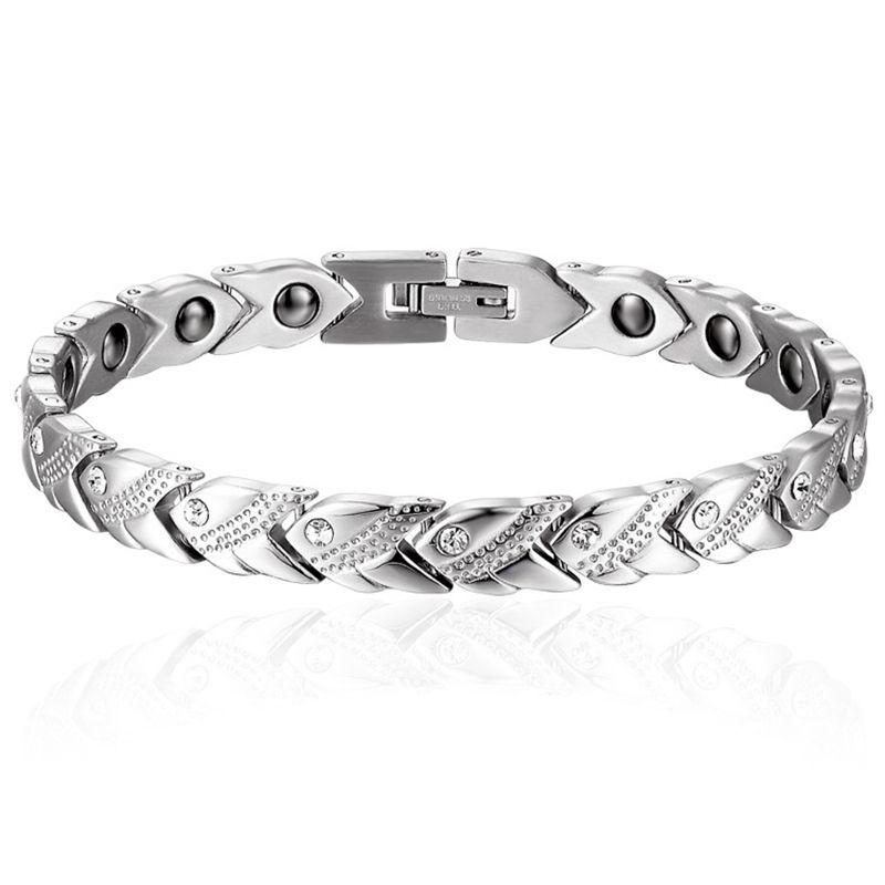 Trendy Crystal Chain Bracelet Paved Titanium Steel Magnet Germanium Hologram Health Slimming Bracelets Bangles for Women Jewelry