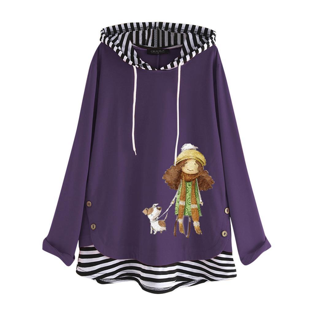 Artı Size Kadınlar Uzun Kollu Pamuk Keten O-Boyun Bluz Üst kadın giyim rahat hoodies yazdır Y200608