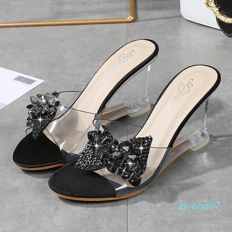 YEELOCA 2019 Nouveau haut talon femmes Chaussures d'été sauvage Femmes Mot Boucle simple Wedge Sandales transparent Bow-noeud chaussons Z07