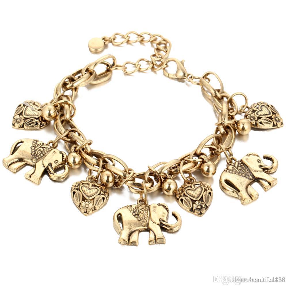 Elefanten Charme Fußkettchen für Frauen Vintage Herz Barfuß Sandalen Fuß Schmuck Böhmischen Gold Silber Farbe Ankle Armband 1 Stücke