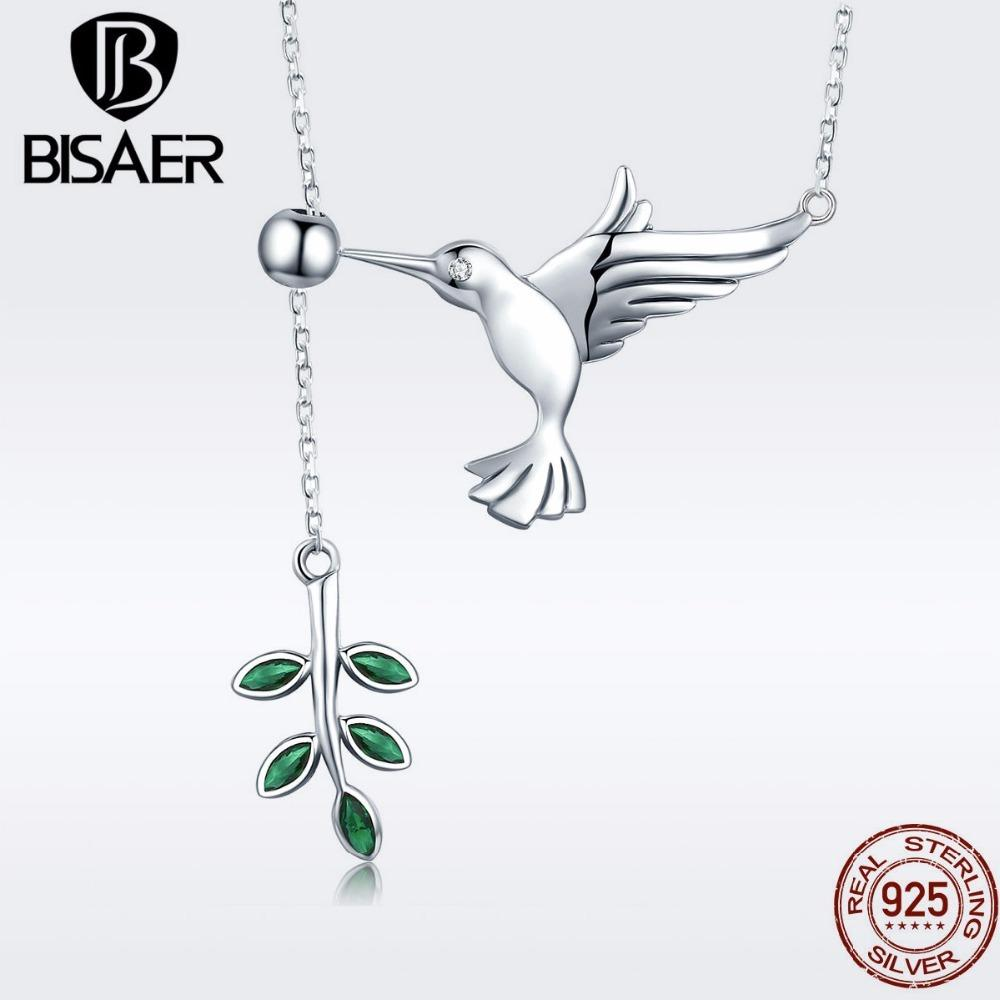 BISAER Authentic 925 Sterling Silver Hummingbirds Greeting Tree Leaves Pendant Necklaces Sterling Silver Jewelry S925 GXN217 CX200609