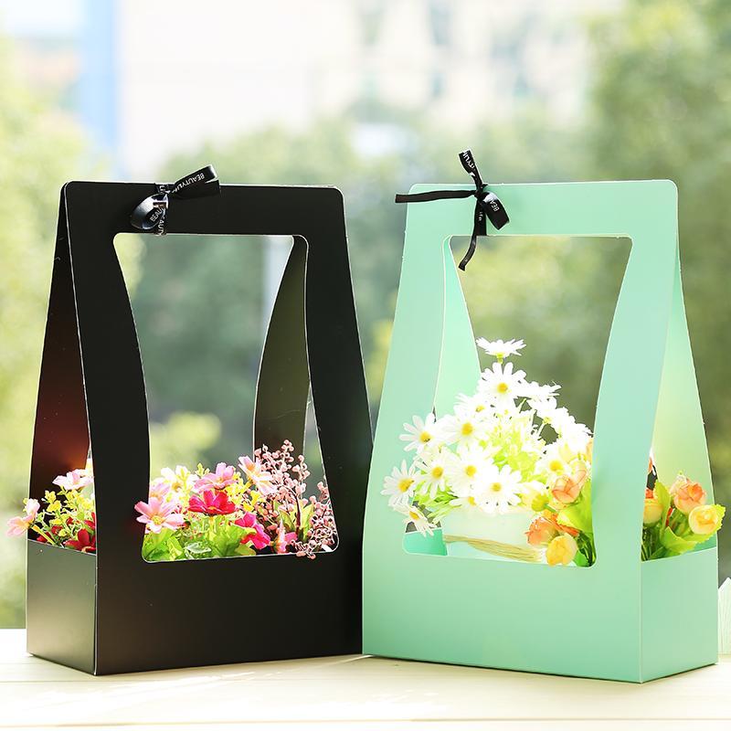 Flower Basket Paper Carton 50pcs Portable Flowers Packing Box Waterproof Florist Fresh flower Carrier Bag In Green Black Pink