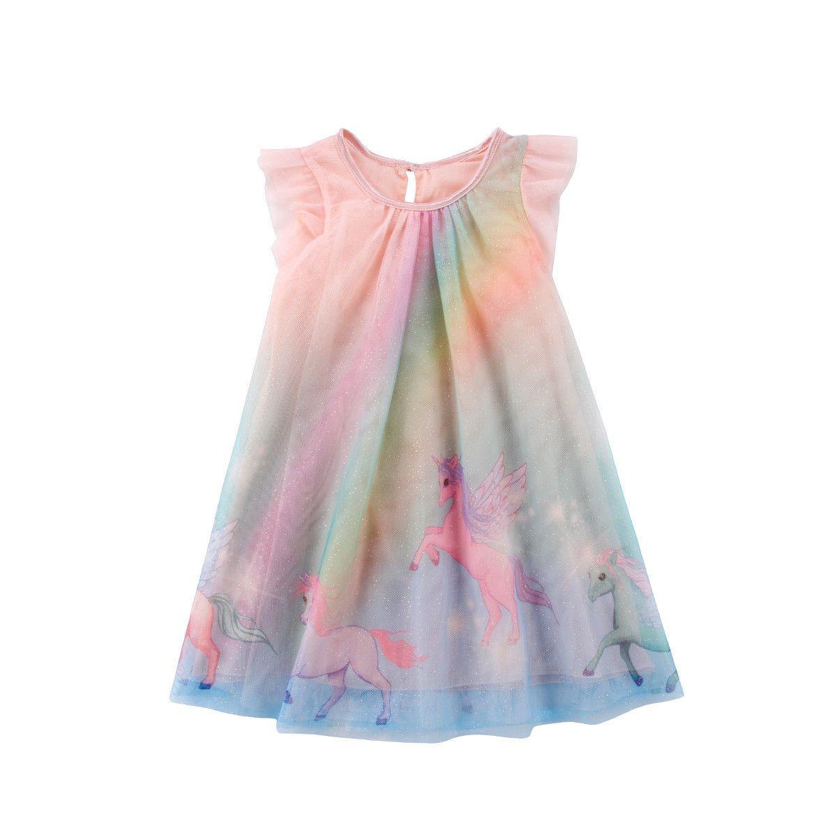 RetailBaby Girls Pegasus Unicorn Printed Dress Sleeveless Rainbow grenadine Cartoon A-line Party Prom Princess Dresses Kids boutique clothes