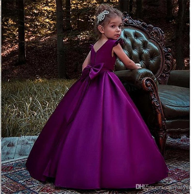 Nuovo arrivo fiore viola ragazza abiti Appliques abito di sfera formale increspature O-Collo senza maniche spettacolo Comunione partito abiti