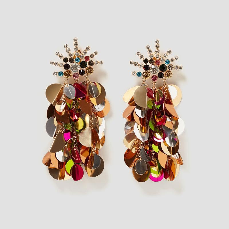 Diamante di cristallo del nuovo paillettes nappa orecchini femminile insieme di modo orecchini commercio estero orecchini caldi all'ingrosso della fabbrica