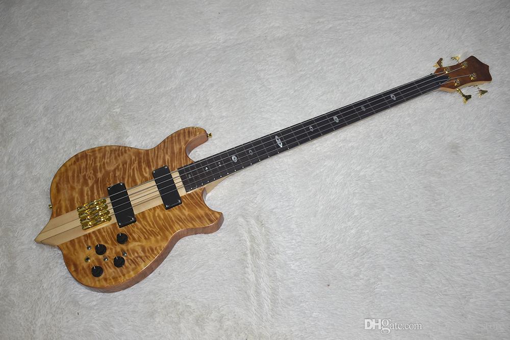 Fabrika Doğal Ahşap Renk Sıradışı Elektrik Bas Gitar ile 4 Strings, Boyun-Thru-Vücut, Bulutlar Akçaağaç Kaplama, Yüksek Kalite, Özelleştirilebilir