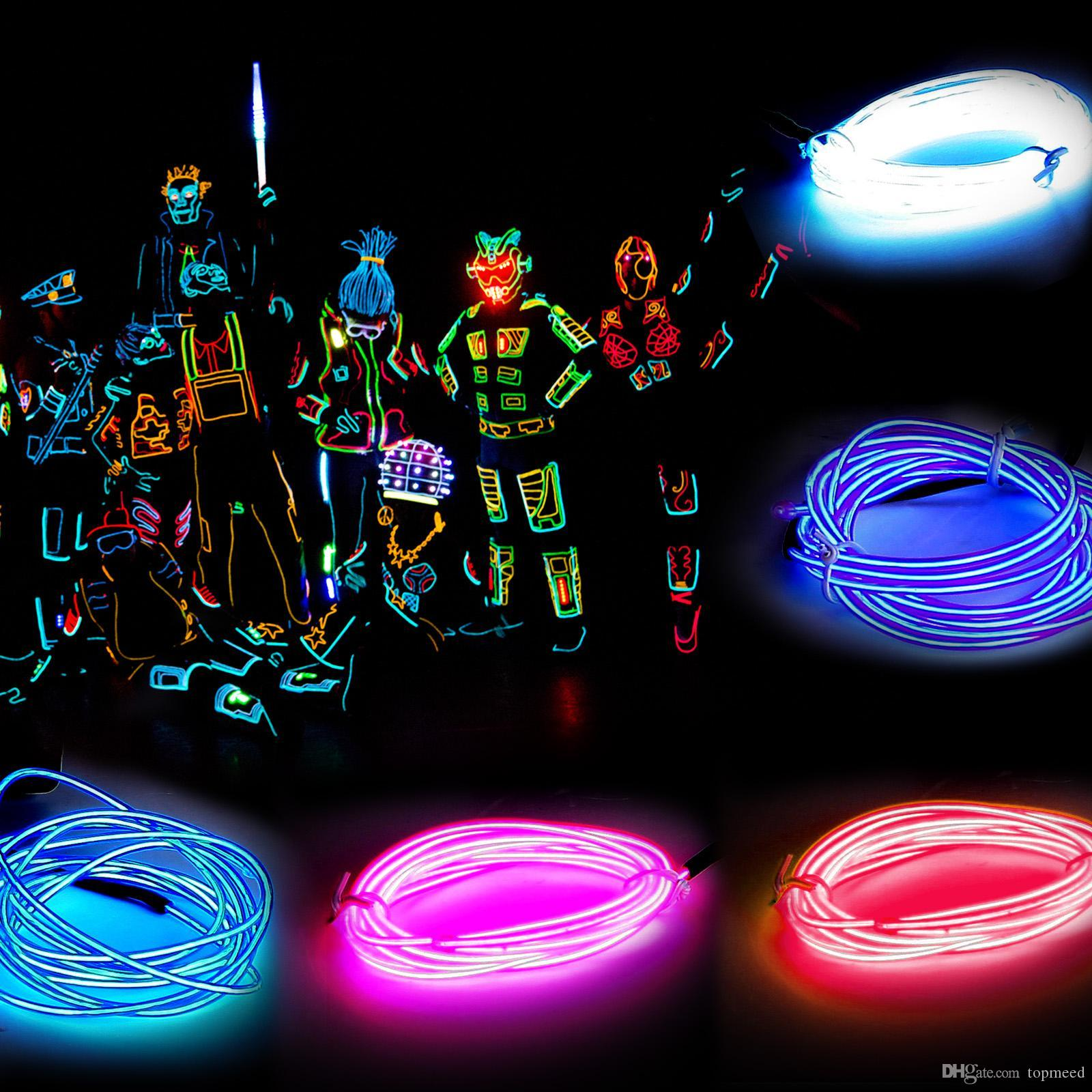 3m Flexible Neon Light Glow EL Wire Rope Tube Flexible Neon Light 8 Colors Car Dance Party Cost+Controller Christmas Decor Light