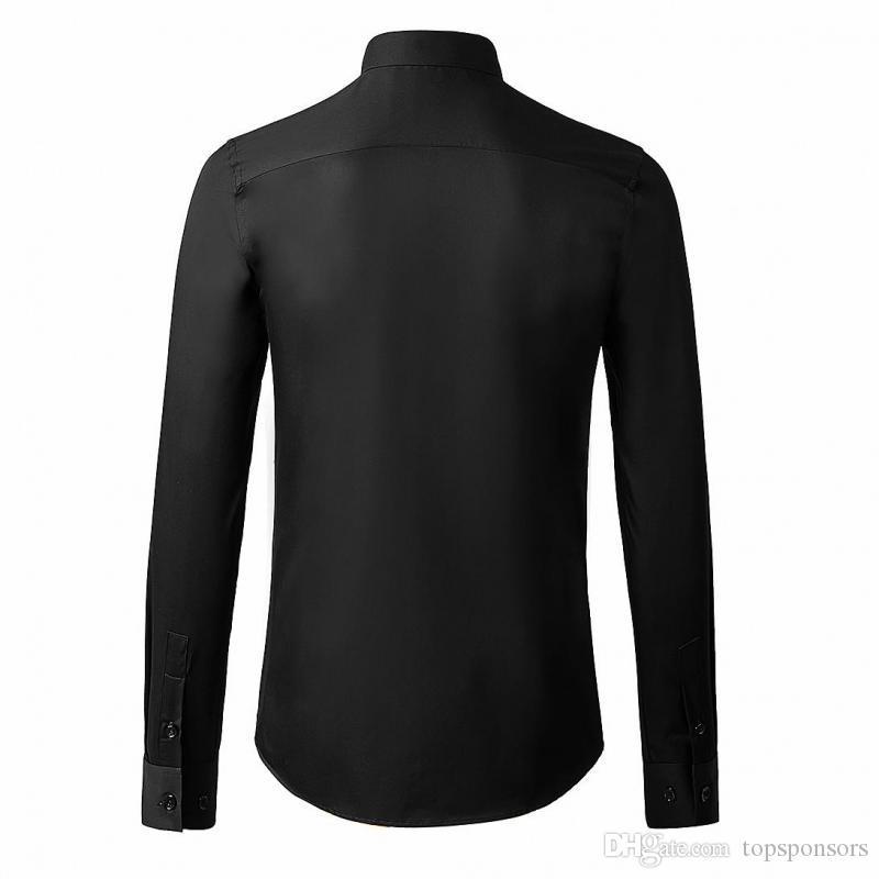 NUEVO Camisetas de larga calidad negras Camisas geométricas de manga para hombre de lujo Vestido para hombre Alto blanco Slim Fit Casual Male 3xl RJLSD