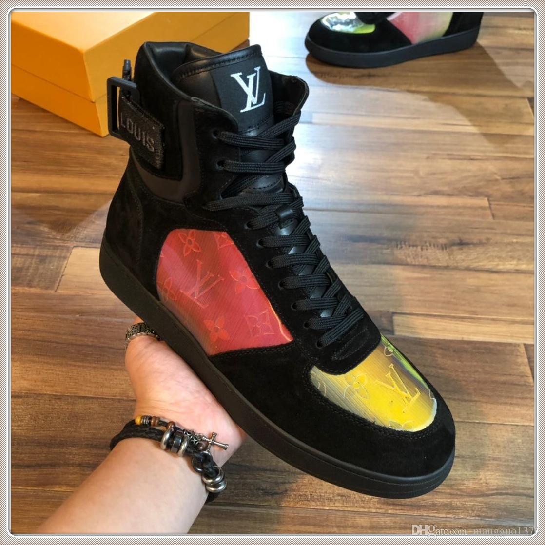 Moda Mens alta qualidade sapatos High Top de luxo outono e do inverno do vintage Plus Size Running Shoes com origem Box
