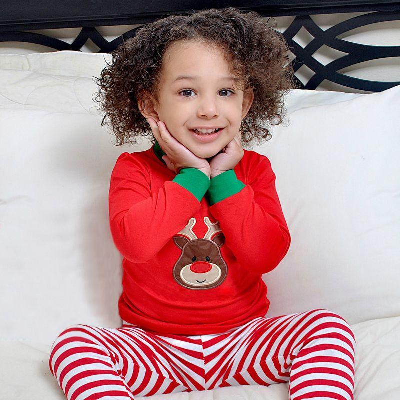 Pudcoco Mon premier Noël Ensemble tout-petits enfants Vêtements de bébé fille pyjama rayé cerf Tops Pantalon de nuit Tenues Sleeping 1-6Y