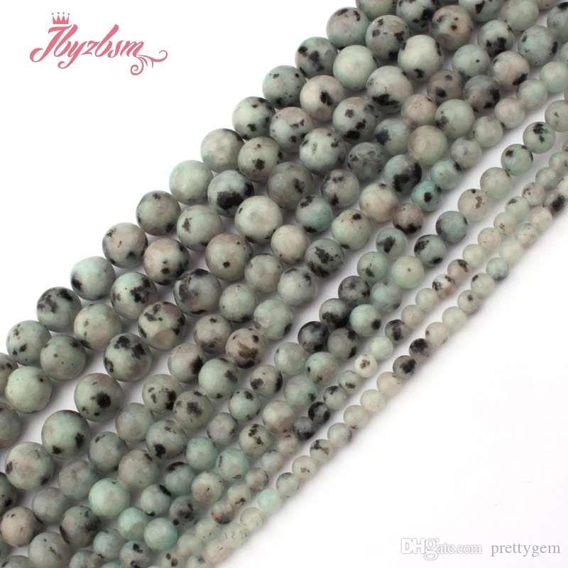 4,6,8,10mm Perles ronde et lisse billes multicolores Tienshan spot Stone Perles Pour Bijoux Bracelets Collier Faire 15