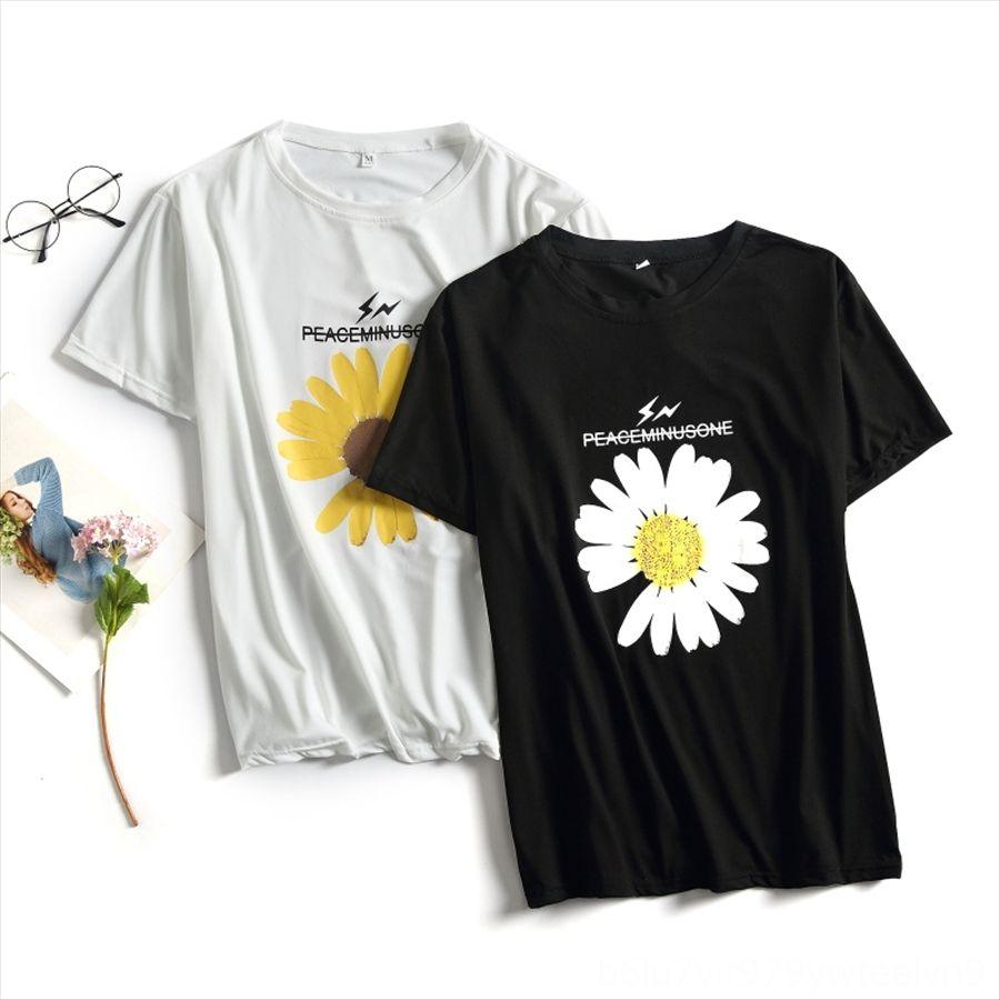 La pequeña Daisy 2020 ropa de manga corta camiseta de la ropa de gran tamaño crisantemo impresa ropa suelta el ins de las mujeres