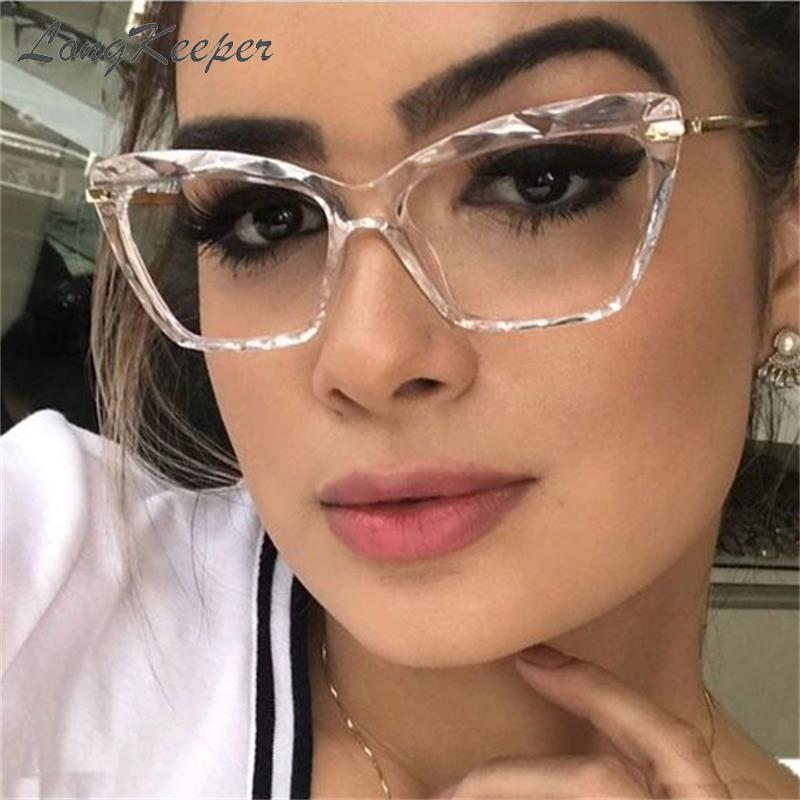 Estilos Cat Moda LongKeeper Eye Glasses Frames Mulheres Trending Marca Computer Optical Óculos Óculos de Grau Feminino
