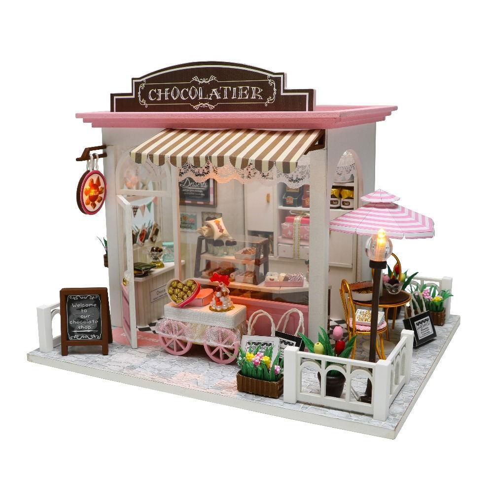 DIY casa de muñecas en miniatura de muñecas con muebles de madera Casa Miniaturas juguetes para niños Año Nuevo regalo de Navidad CM Y200413