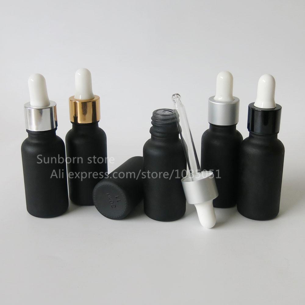 500PCS / الكثير 20ML البريد السائل الأسود زجاج بلوري زجاجة بالقطارة