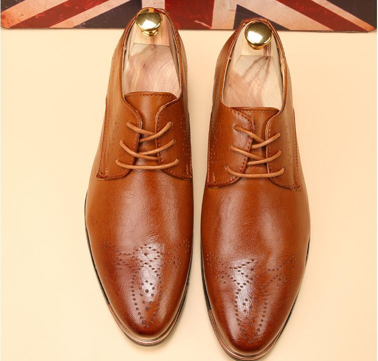 2019 мужская мода улица белый указал Оксфорд кожаные туфли мужские вечерние туфли для возвращения на родину свадьба бизнес Рождественский подарок