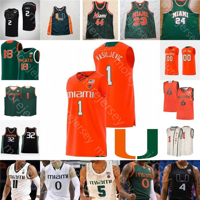 Personalizado furacões Basketball Jersey NCAA Chris Lykes Dejan Vasiljevic Kameron McGusty Isaías Wong Beverly Rick Barry John Salmons