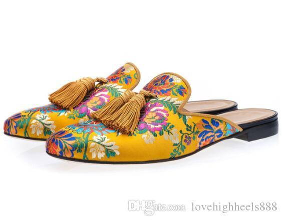 Neue Gestickte Müßiggänger Männer Rauchen Hausschuhe Party Kleid Schuhe Sommer Trending Schuhe Männer Slip on Casual Komfortables Fahren Schuh