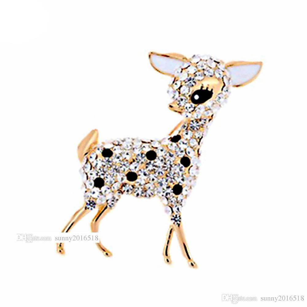 New Cute Sika Brooches Shiny Diamond Crystal Deer Brooches Pins for Women Wedding Brooch Bouquet Fashion Jewelry Party Gifts Free Shipping