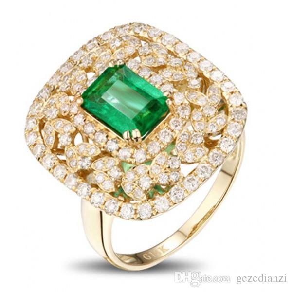Exquisite 18K Yellow Gold Princess Cut Emerald & Diamond Ring Birthday Anniversary Gift Women Wedding Engagement Ring Wholesale and Retail