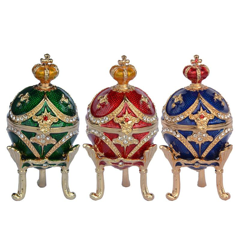 Mini Crown Egg Jewelry Box Trinket Scatole Faberge Eggs Vintage Home Decor Regali di compleanno di Natale Decorazione C19022801