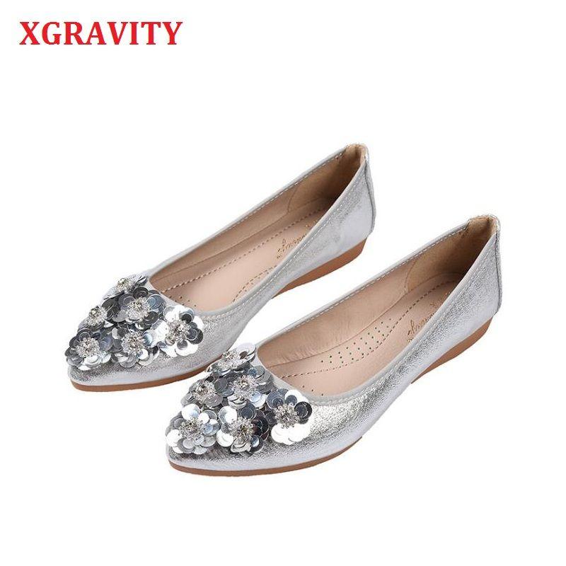 XGRAVITY Hot Floral Elegant New Shoes Flat Foldable Pormotion Size Lady Fashion Big Woman Women Shoes Flowers Soft A237 Ojkbk